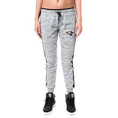 Ultra Game NFL Baltimore Ravens Womens Active Basic Fleece Jogger Sweatpants, Gray Space Dye, X-Large