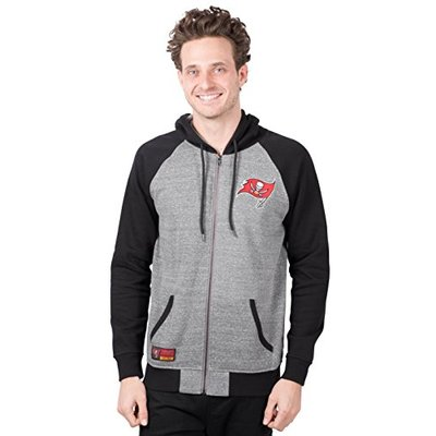 Ultra Game NFL Tampa Bay Buccaneers Mens Full Zip Soft Fleece Raglan Hoodie, Team Color, Large