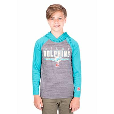 Ultra Game NFL Miami Dolphins Youth Moisture Wicking Athletic Performance Pullover Sweatshirt Hoodie, Team Color, 14/16