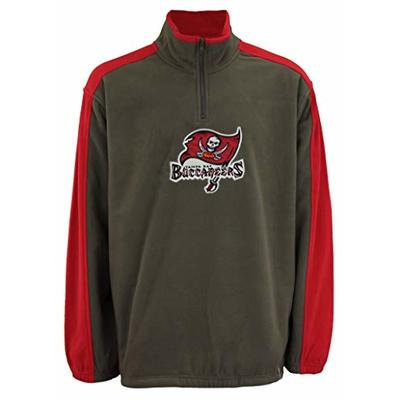 Reebok NFL Men's Tampa Bay Buccaneers 1/4 Zip Pullover Fleece, Pewter X-Large