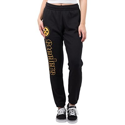 Ultra Game NFL Pittsburgh Steelers Womens Relaxed Fit Jogger, Black, X-Large
