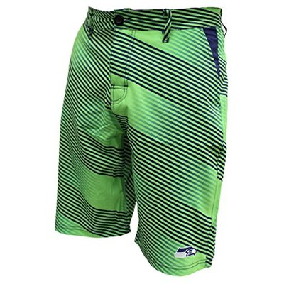 FOCO NFL Seattle Seahawks Diagonal Stripe Walking Shorts, Team Color, Small/Size 32