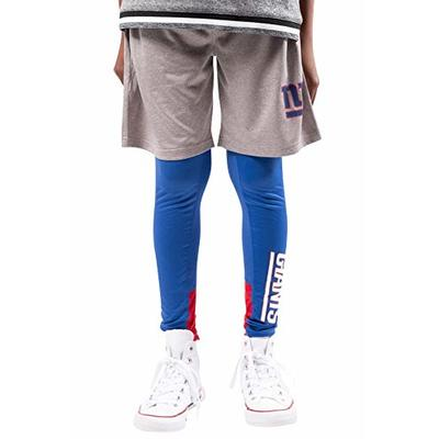 Ultra Game NFL New York Giants Youth 2 Piece Leggings & Shorts Training Compression Set, Team Color, 10/12
