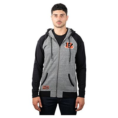 Ultra Game NFL Cincinnati Bengals Mens Full Zip Soft Fleece Raglan Hoodie, Team Color, Medium