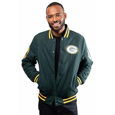 Ultra Game NFL Green Bay Packers Mens Classic Varsity Coaches Jacket, Team Color, Small