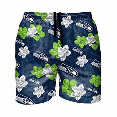 FOCO NFL Seattle Seahawks Mens Hibiscus Slim Fit 5.5″ Swim Suit Swimming TrunksHibiscus Slim Fit 5.5″ Swim Suit Swimming Trunks, Team Color, XXL