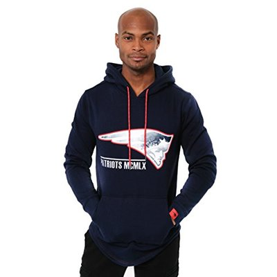 Ultra Game NFL New England Patriots Mens Fleece Hoodie Pullover Sweatshirt Embroidered JTM1731A, Team Color, Small