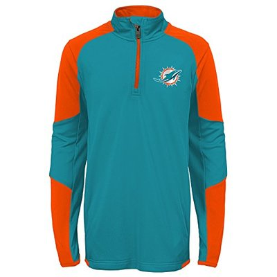 """NFL Miami Dolphins   Youth Boys """"Beta"""" 1/4 Zip Performance Top, Aqua, Youth Large(14-16)"""
