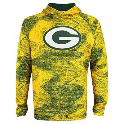 Zubaz NFL Green Bay Packers Men's Static Body Lightweight Performance French Terry Hoodie Size Large