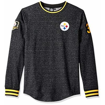 Ultra Game NFL Pittsburgh Steelers Mens Long Sleeve Pullover Fleece Sweatshirt, Black Marl, Large