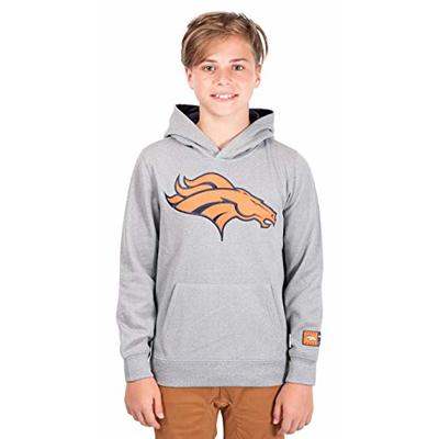Ultra Game NFL Denver Broncos Youth Extra Soft Poly Dry Fleece Pullover , Heather Gray, 8