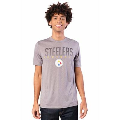 Ultra Game NFL Pittsburgh Steelers Mens Active Tee Shirt, Heather Gray19, Medium