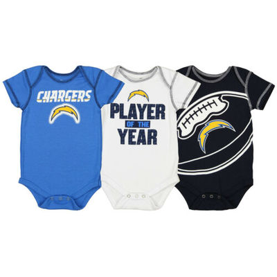 Outerstuff NFL Infant Los Angeles Chargers Number #1 Fan 3 Piece Creeper Set