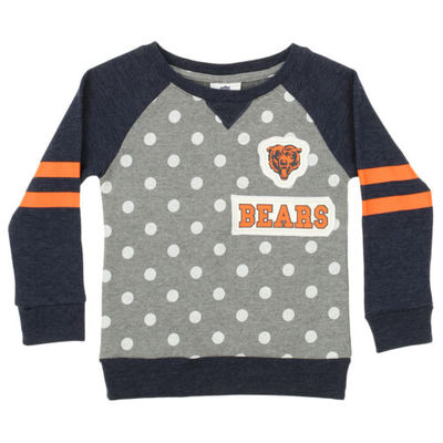 Outerstuff NFL Little Girls Chicago Bears Logo Polka Dot Long Sleeve Crew