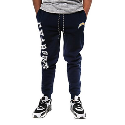 Ultra Game NFL Los Angeles Chargers Mens Jogger Pants Active Basic Fleece Sweatpants, Team Color, Small