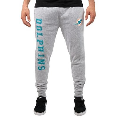 Ultra Game NFL Miami Dolphins Mens Jogger Pants Active Basic Fleece Sweatpants, Heather Gray 18, Large