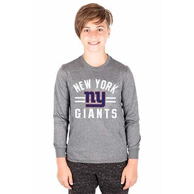 Ultra Game NFL New York Giants Youth Super Soft Crew Neck Long Sleeve T-Shirt, Heather Gray Charcoal, 10/12