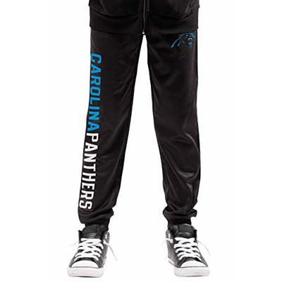Ultra Game NFL Carolina Panthers Youth High Performance Moisture Wicking Fleece Jogger Sweatpants, Team Color, 14/16