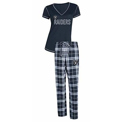 Concepts Sport Oakland Raiders NFL Super Duo Women's T-Shirt & Flannel Pajama Sleep Set