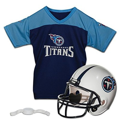 Franklin Sports NFL Tennesee Titans Kids Football Helmet and Jersey Set – Youth Football Uniform Costume – Helmet, Jersey, Chinstrap – Youth M