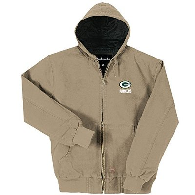 NFL Green Bay Packers Cumberland Canvas Quilt Lined Hooded Jacket, Taupe, Medium