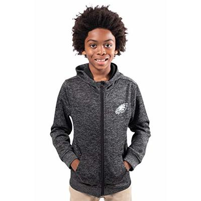 Ultra Game NFL Philadelphia Eagles Youth Extra Soft Fleece Pullover Hoodie Sweatshirt, Black, 8