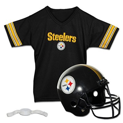 Franklin Sports NFL Pittsburgh Steelers Kids Football Helmet and Jersey Set – Youth Football Uniform Costume – Helmet, Jersey, Chinstrap – Youth M