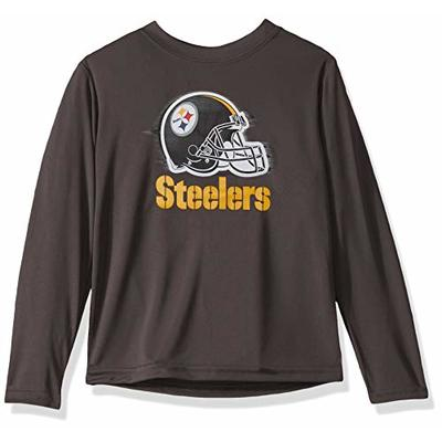 NFL Pittsburgh Steelers Boys Long Sleeve GREY LOGO TEE SHIRT, Team Color, 2T