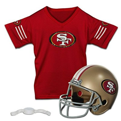 Franklin Sports NFL San Francisco 49ers Kids Football Helmet and Jersey Set – Youth Football Uniform Costume – Helmet, Jersey, Chinstrap – Youth M