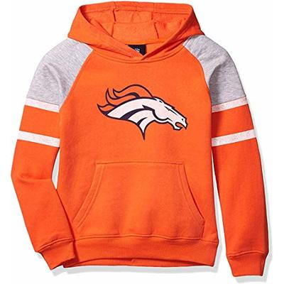 Outerstuff NFL Boys Youth 8-20 Team Color Primary Logo Linebacker 2.0 Raglan Pullover Fleece Hoodie Sweatshirt (Denver Broncos, Youth Medium 10-12)