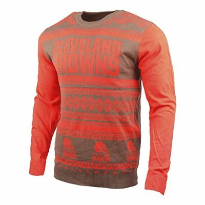 Klew NFL Cleveland Browns Two-Tone Cotton Ugly Sweater, Orange, X-Large