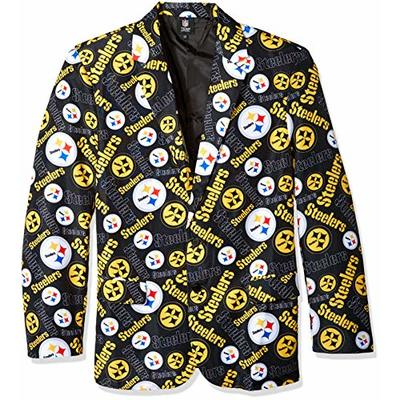 FOCO NFL Pittsburgh Steelers Mens Repeat Logo Business Suit JacketRepeat Logo Business Suit Jacket, Team Color, S (42)