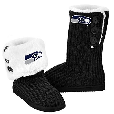 FOCO NFL Seattle Seahawks Knit High End Button Boots, Medium (7-8), Black