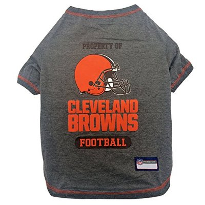 PET SHIRT for Dogs & Cats – NFL CLEVELAND BROWNS Dog T-Shirt, Large. – Cutest Pet Tee Shirt for the real sporty pup