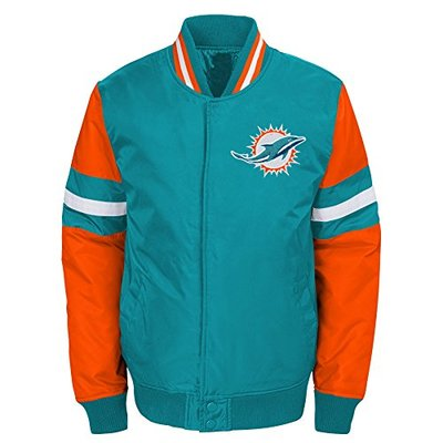 "NFL Miami Dolphins Boys Outerstuff ""Legendary"" Color Blocked Varsity Jacket, Youth Medium (10-12), Aqua"