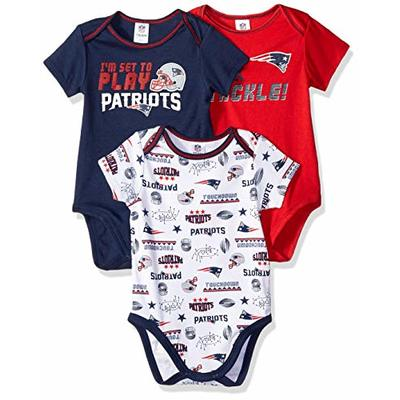 Gerber Childrenswear NFL New England Patriots 3 Pack Short Sleeve Bodysuit, red/White/Blue New England Patriots, 6-12 Months