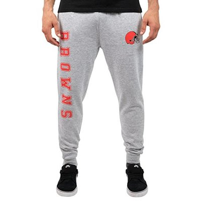 Ultra Game NFL Cleveland Browns Mens Active Basic Jogger Fleece Pants, Heather Gray, Small