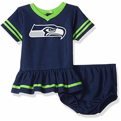 NFL Seattle Seahawks Team Jersey Dress and Diaper Cover, Blue/Green Seattle Seahawks, 0-3 Months