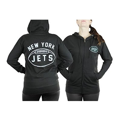 Junk Food New York Jets NFL Womens Double Coverage Full Zip French Terry Hoodie, Black