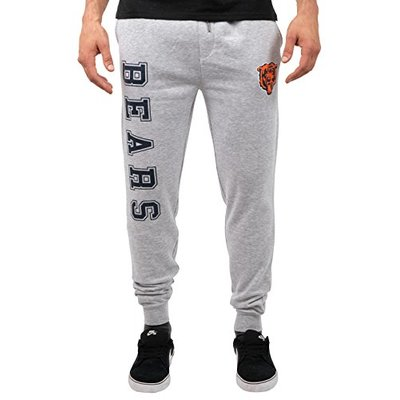Ultra Game NFL Chicago Bears Mens Active Basic Jogger Fleece Pants, Heather Gray, Medium