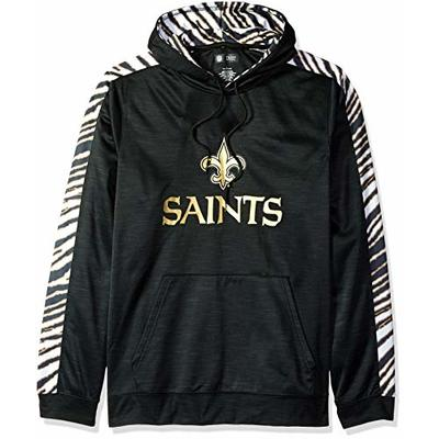 Zubaz NFL New Orleans Saints Mens Slub Hoodpullover Hood, Black/Burnished Gold, X-Large