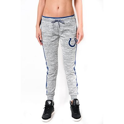 Ultra Game NFL Indianapolis Colts Womens Active Basic Fleece Jogger Sweatpants, Gray Space Dye, X-Large