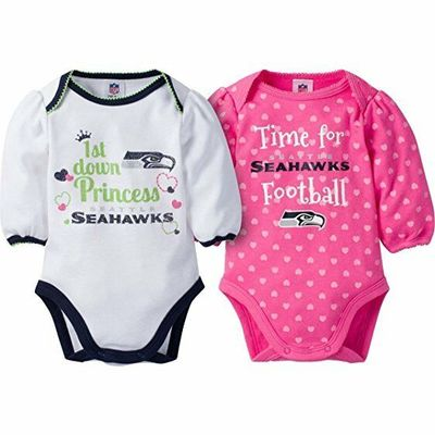 NFL Seattle Seahawks 2-Pack Baby Girl Long Sleeve Bodysuits, Size 0-3 Months NWT