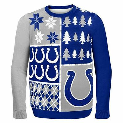 NFL Indianapolis Colts BUSY BLOCK Ugly Sweater, NFL Mens Ugly Sweater Sz L