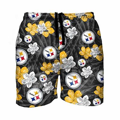 FOCO NFL Pittsburgh Steelers Mens Hibiscus Floral Hawaiian Tropical Swim Suit Swimming TrunksHibiscus Floral Hawaiian Tropical Swim Suit Swimming Trunks, Hibiscus, M
