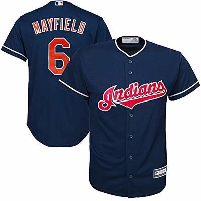 MLB X NFL Official Crossover Youth 8-20 Cool Base White Home Player Replica Jersey (Large 14/16, Baker Mayfield Cleveland Indians)