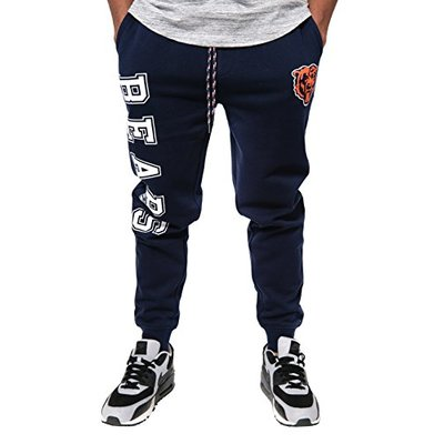 Ultra Game NFL Chicago Bears Mens Active Basic Jogger Fleece Pants, Team Color Stripe, Medium