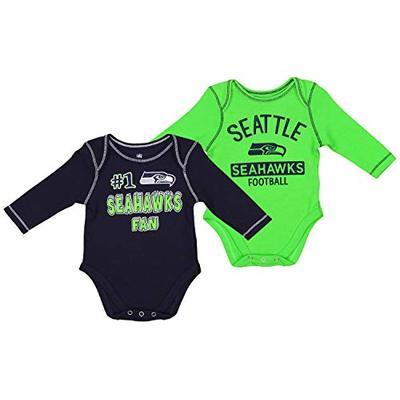 Outerstuff NFL Newborn (0M-9M) and Infant (12M-24M) 2 Piece Long Sleeve Creeper Set, Seattle Seahawks 6-9 Months
