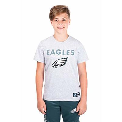 Ultra Game NFL Philadelphia Eagles Youth Active Crew Neck Tee Shirt, Heather Gray, Medium
