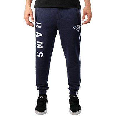 Ultra Game NFL Los Angeles Rams Mens Active Basic Jogger Fleece Pants, Team Color 18, Large